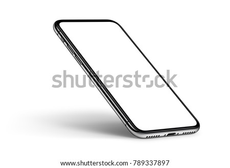 Perspective smartphone mockup on white background. Isometric smartphone mockup with shadow. Use it for printing, website or like a presentation element. Game or application mockup.
