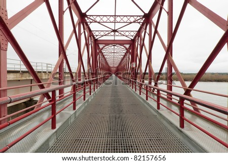 Perspective to infinity at the bridge D.Amelia Santaram - Portugal - stock photo