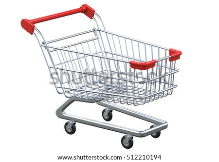Perspective view empty shopping cart. 3D render isolated on white background