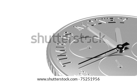 Perspective view of a Coin with a Clock