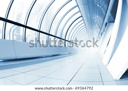 Perspective view of a long corridor