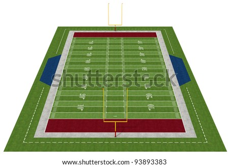 Perspective view of an american  football field - rendering
