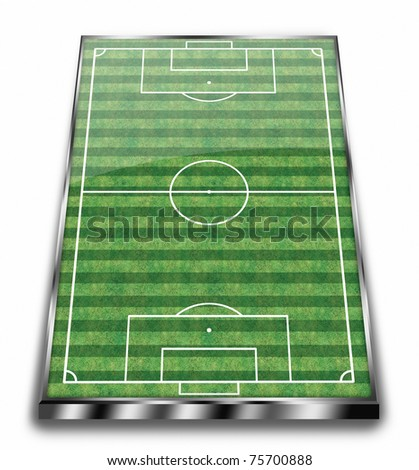 perspective view of an empty soccer field