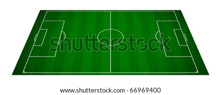 perspective view of an empty soccer field -3d rendering - stock photo