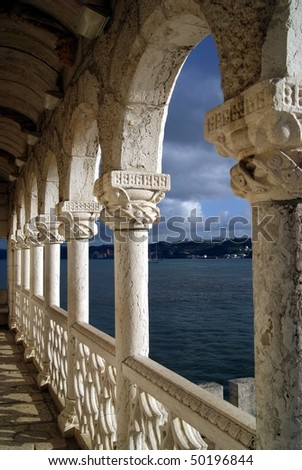 Perspective view of Belem Tower balcony in Lisbon, Portugal.