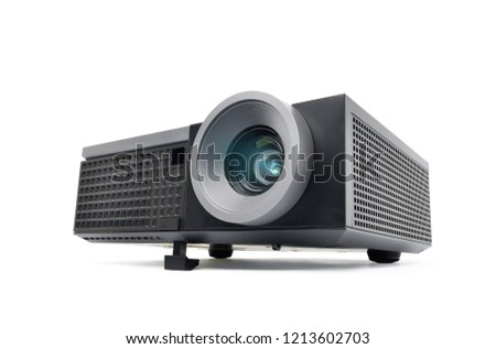 Perspective view of black LCD Projector video presentation and home Entertainment isolated on white background with clipping path Foto stock ©