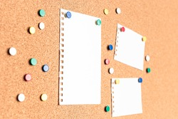 Perspective view of blank papers on a cork board with multi colored thumb tacks around