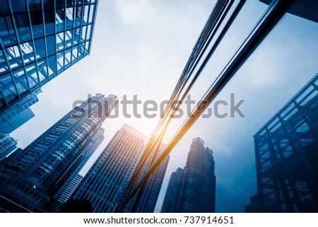 Perspective view of contemporary glass building skyscraper
