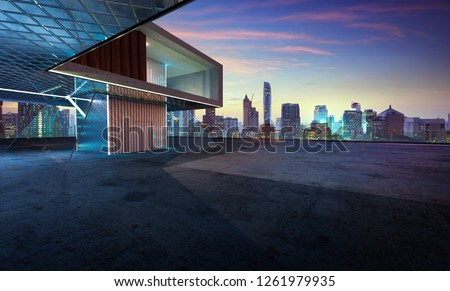 Perspective view of empty cement floor with steel and glass modern building exterior . 3D rendering and real images mixed media #1261979935
