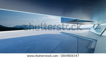Perspective view of empty cement floor with steel and glass modern building exterior.  Morning scene. Photorealistic 3D rendering. Stockfoto ©
