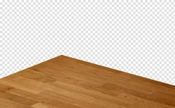 Perspective view of empty wood or wooden table corner from top view on isolated background including clipping path