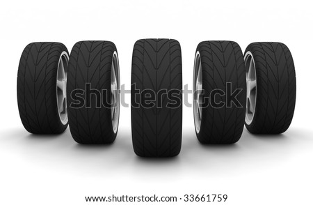 Perspective view of five new car wheels isolated on the white background. Front view