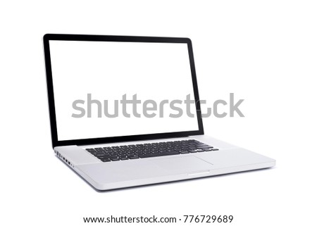 Perspective view of Laptop with blank white screen 17.6 inch isolated on white background, aluminum body.