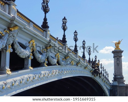 Perspective View of Pont Alexandre III Bridge In Paris With Blue Skies Stock photo ©