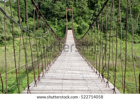 Perspective view of rope bridge in the park #522714058