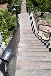 Perspective view of steep concrete stairs in Jerome Arizona