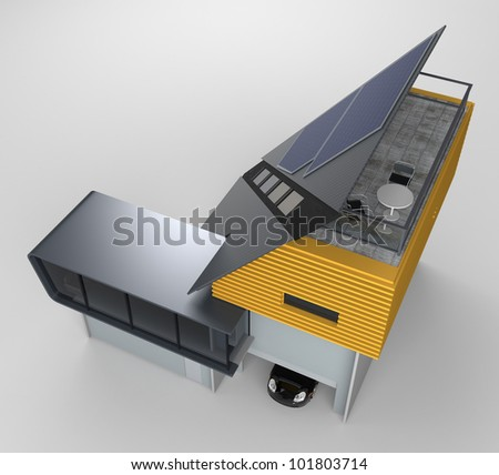 perspective view of the extreme slope roof which mounted solar panel