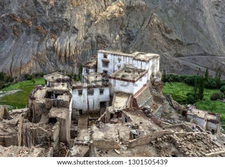 Perspective view of the Lamayuru village is also called the Yuru Gompa (monastery) - Tibet, Kargil District, Leh district, Western Ladakh, Himalayas, Jammu and Kashmir, Northern India