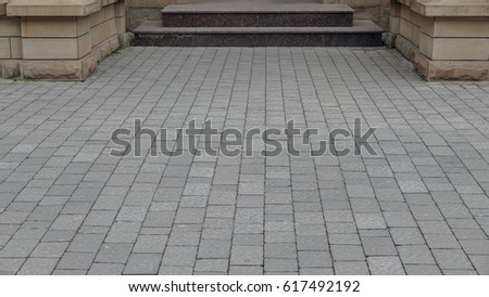 Perspective View of Various Color Grunge Brick Stone on The Ground for Street Road. Sidewalk, Driveway, Pavers, Pavement in Vintage Design Flooring Hexagon Pattern Texture Background