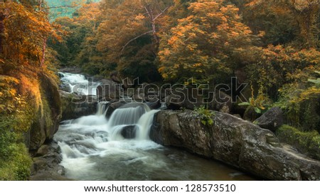 Perspective view of Waterfall Landscape in Thailand