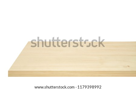 Perspective view of wood or wooden table corner from top isolated on white background including clipping path, template mock up for display products. Foto d'archivio ©