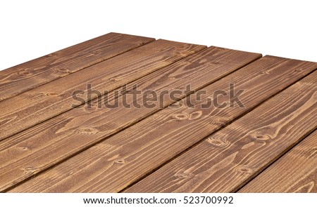 Perspective view of wood or wooden table corner on white background including clipping path  #523700992