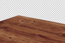 Perspective view of wood or wooden table top corner on isolated background including clipping path, template mock up for display products.