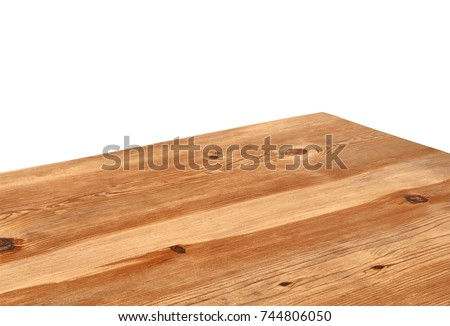 Perspective view of wood or wooden table top corner on white background including clipping path, template mock up for display products.