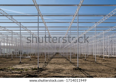 Perspective view on the framework of an industrial glass greenhouse under construction in Westland. Westland is a region in of the Netherlands. ストックフォト ©