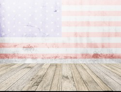 Perspective wood plank floor or walk way with America flag on dirty white wall background for art interiors design in home, house, building, shop, store, art ,coffee shop