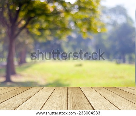 Perspective wood with blur landscape background #233004583