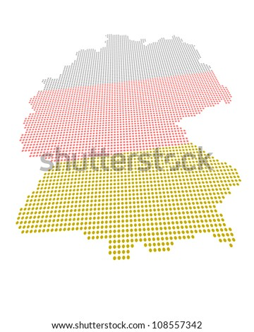 Perspectively distorted map of Germany with a point grid