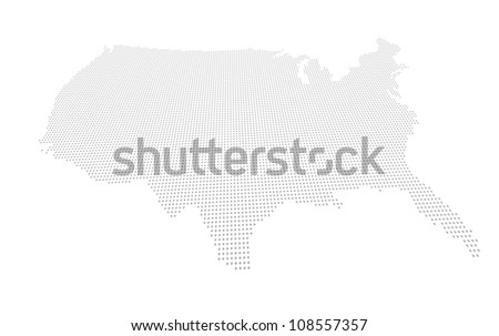 Perspectively distorted map of the USA with a point grid