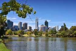Perth, Australia - skyline view from John Oldany park.
