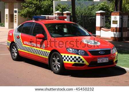 PERTH - FEBRUARY 8: Australian Federal Police Ford Falcon on February 8, 2009 in Perth. Ford Falcon is one of the most produced cars ever and will reach 50 years of continuous production in 2010.