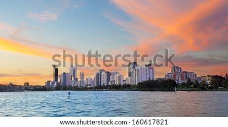 Perth skyline during sunset west Australia