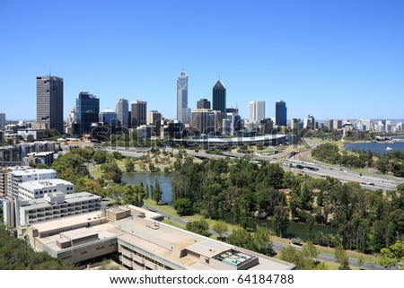 Perth skyline from Kings Park. Australian city view.