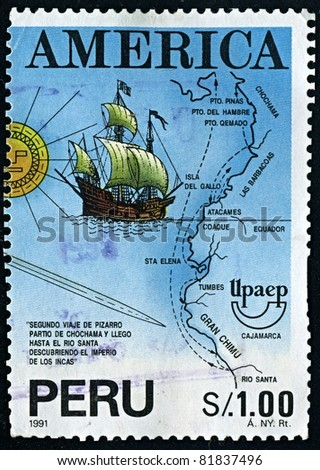 PERU-CIRCA 1991:A stamp printed in PERU shows image of Americas, or America, are lands in the Western hemisphere, also known as the New World, circa 1991.