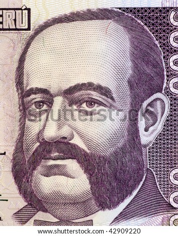 PERU - CIRCA 1988: Admiral Miguel Grau on 5000 Indis 1988 Banknote from Peru. Naval officer and hero of the battle of Angamos in the war of the pacific during 1879-1884.