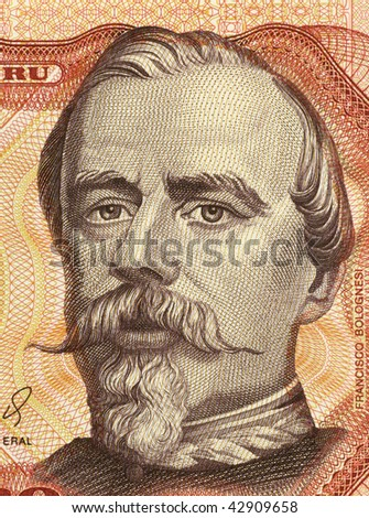 PERU - CIRCA 1985: Francisco Bolognesi on 5000 Soles de Oro 1985 Banknote from Peru. Peruvian military hero.