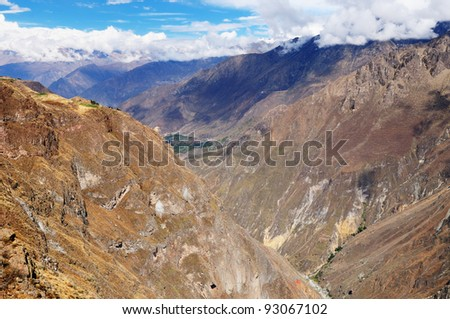 Peru, Colca canyon. the secend wolds deepest canyon at 3191m. The canyon is set among high volcanoes and ranges from  1000m to 3000m where life the Condor.  View from view point Cruz del Condor.