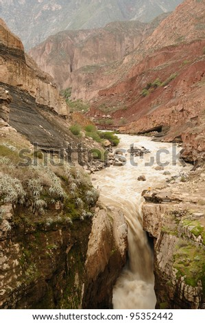 Peru, Cotahuasi canyon. The wolds deepest canyon. The canyon also shelters several remote traditional rural settlements. View no the Sipia waterfalls