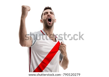 Peru fan celebrating on white background