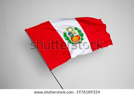 Peru flag isolated on white background with clipping path. close up waving flag of Peru. flag symbols of Peru. Peru flag frame with empty space for your text.