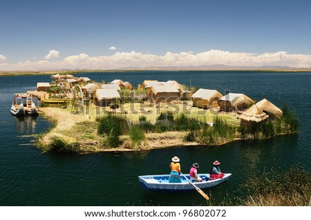 Peru, Floating Uros Islands On The Titicaca Lake, The Largest Highaltitude Lake In The World (3808m). Theyre Built Using The Buoyant Totora Reeds That Grow Abundantly In The Shallows Of The Lake.