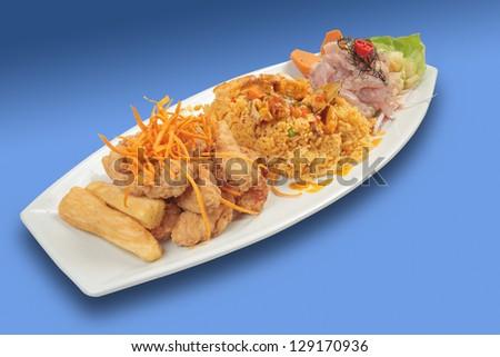 Peru food: triple, cebiche, seafood rice and chicharron of fish