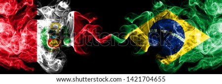 Peru, Peruan, Brazil, Brazilian, competition thick colorful smoky flags. America football group stage qualifications match games