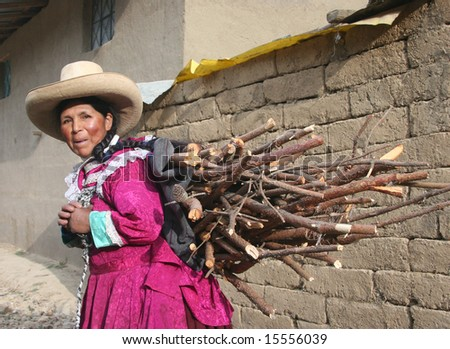 PERU - SEPTEMBER 20: Old indigenous woman in colorful traditional clothes carrying wood on her back . Great trekking adventure September 20, 2005 in Peru.