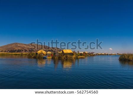 Peru, Titicaca lake, Uros Islands (cane islands). #562754560