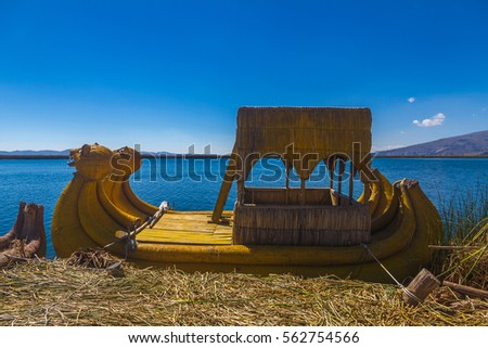 Peru, Titicaca lake, Uros Islands (cane islands). Local boat for the tourists made of cane. #562754566